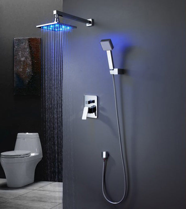 Patsaliga Wall Mounted Thermostatic LED Rainfall Shower Head with Hand shower & Hot / Cold Mixer Valves - eCasaMart
