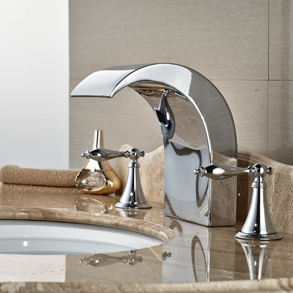 Pawtucket Three Hole Dual Handle Chrome Waterfall Bathroom Faucet with Hot and Cold Water Faucet - eCasaMart