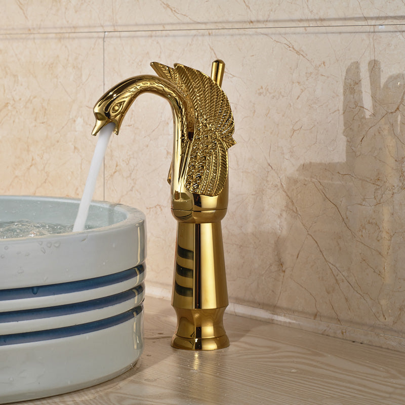 Perrine Deck Mount Single Handle Single Hole Swan Luxury Gold Bathroom Faucet with Hot / Cold Mixer - eCasaMart