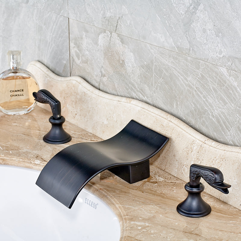 Piedra Deck Mount Oil Rubbed Bronze Dual Handle Swan Bathroom Faucet - eCasaMart