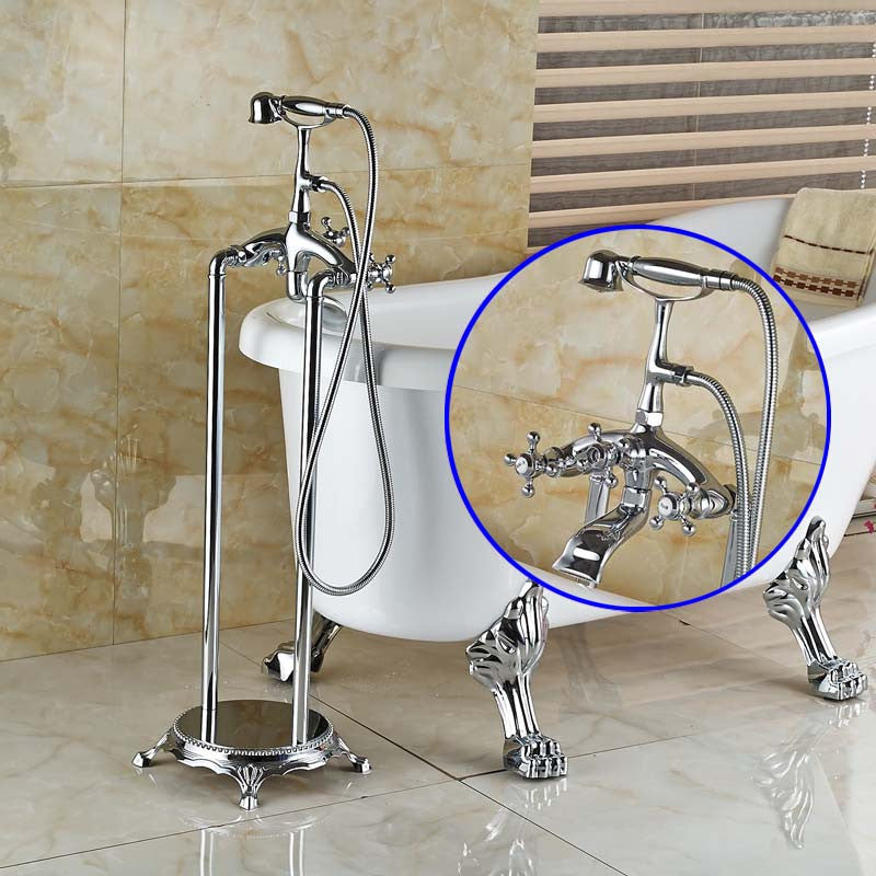 Pistoia Chrome Floor mount Clawfoot Tub Faucet with Handshower - eCasaMart