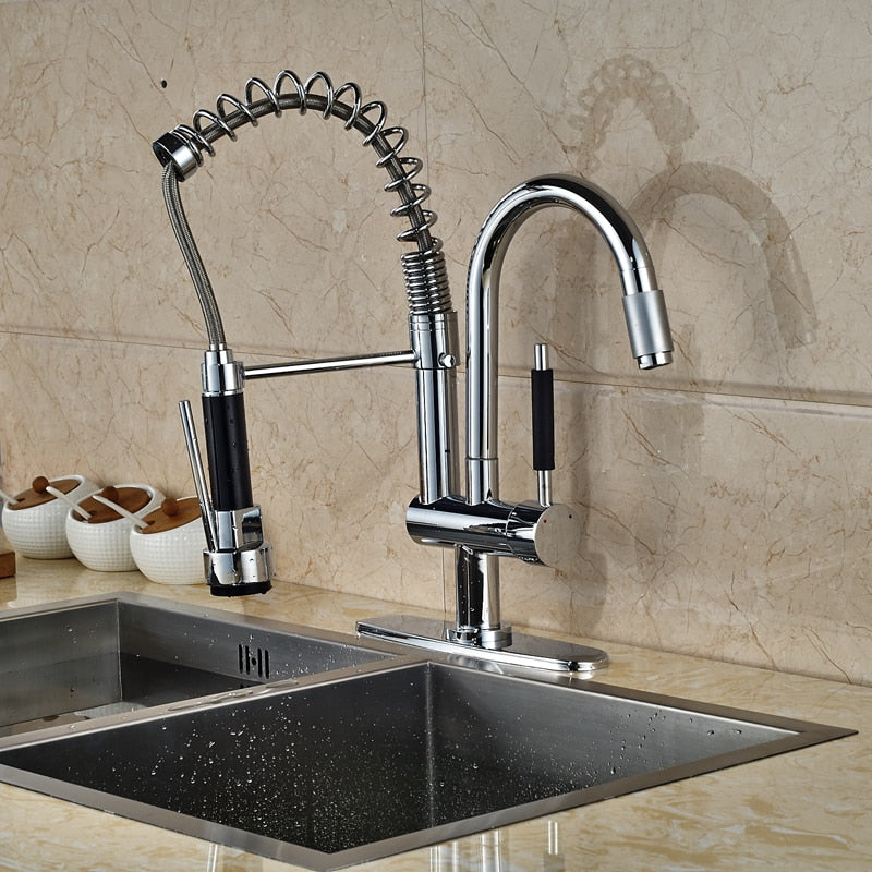 Messina Deck Mount Chrome LED Kitchen Sink Faucet with Pull Out Spray & Hot / Cold Mixer - eCasaMart
