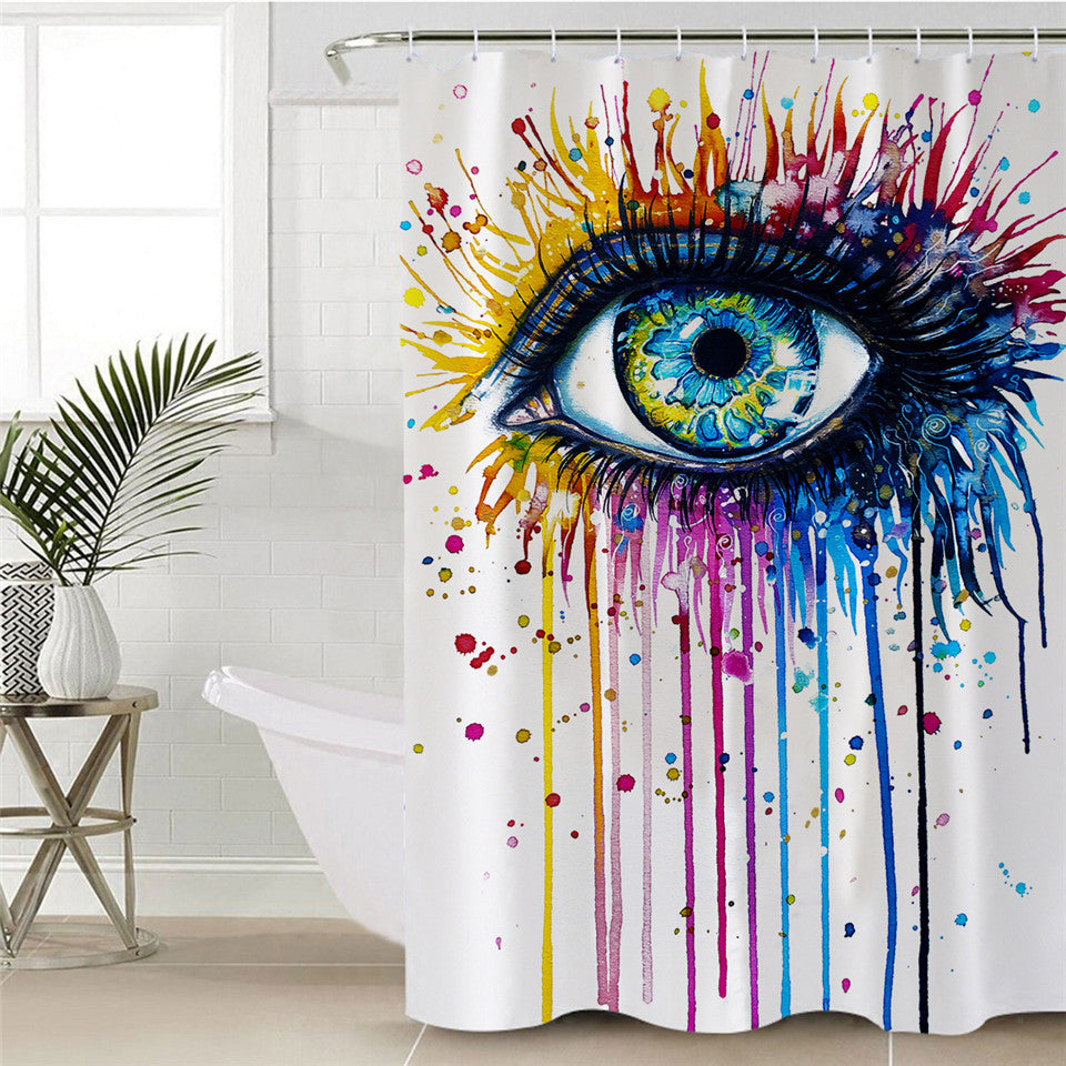 Colorful Eye Shower Curtain | Rainbow Fire by Pixie Cold Art - eCasaMart