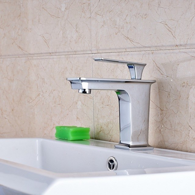 Ramona Single Handle Deck Mount Chrome Finish Single Hole Bathroom Faucet - eCasaMart