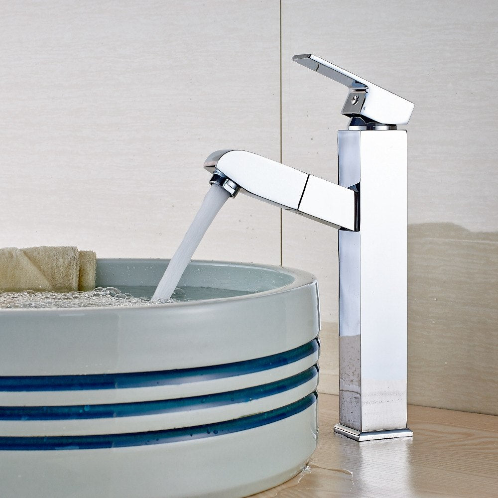 Resica Deck Mount Single Handle Single Hole Chrome Finish Pull Out Bathroom Sink Faucet - eCasaMart