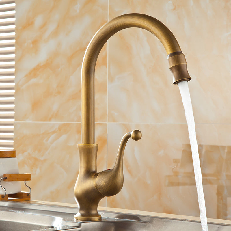 Savio Deck Mounted Single Handle Antique Brass Kitchen Sink Faucet with Rotatable Swivel  - eCasaMart