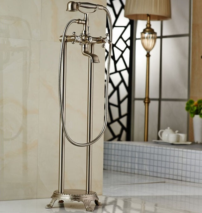 Savona Freestanding Brushed Nickel Clawfoot Tub Faucet with Handshower - eCasaMart
