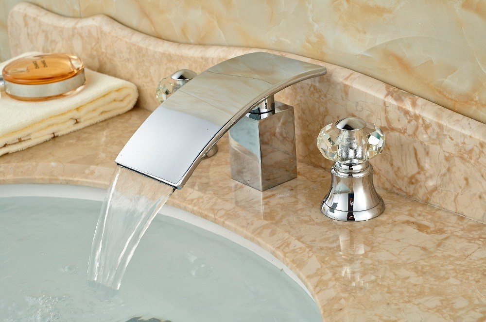 Scudders Deck Mount Two Handle Three Hole Chrome Finish Waterfall Bathroom Faucet with Hot and Cold Water - eCasaMart