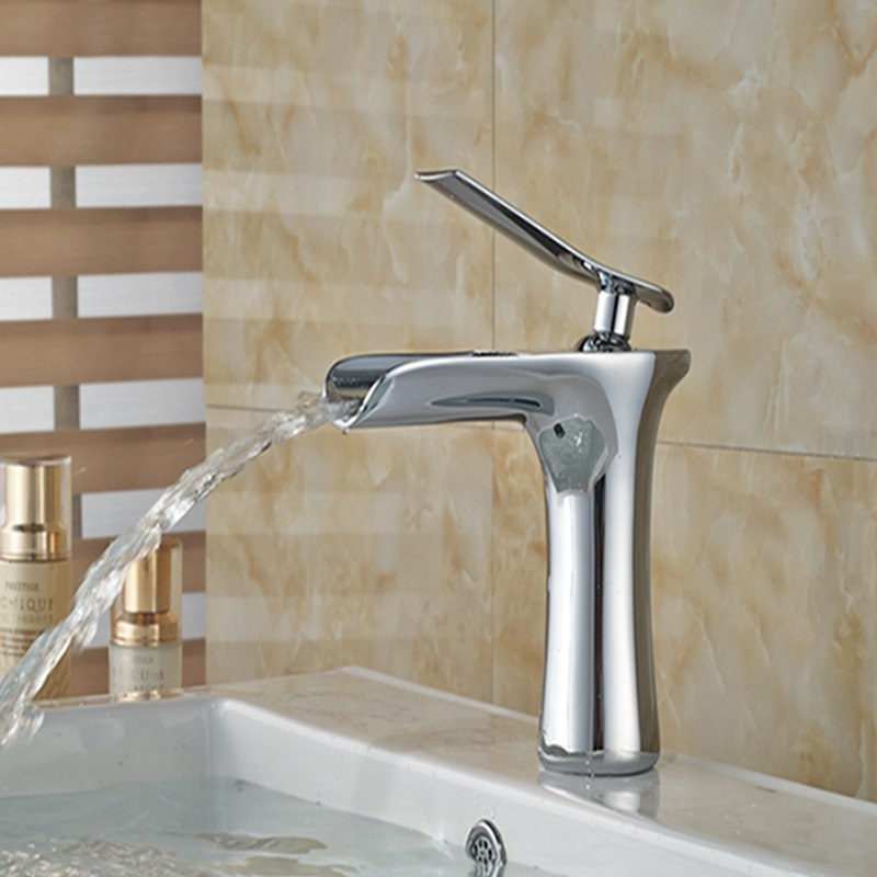 Seahpo Deck Mount Single Handle Chrome Finish Single Hole Bathroom Faucet with Hot and Cold Water Mixer - eCasaMart