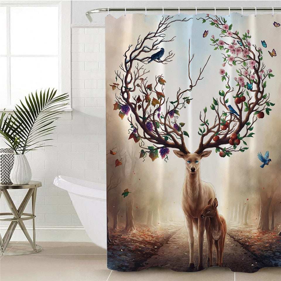 Deer Elk Floral Shower Curtain | Seasons Change by JoJoesArt - eCasaMart