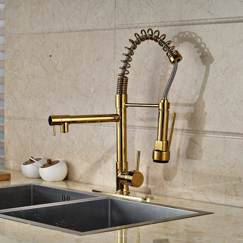 Siena Gold Finish Deck Mount kitchen sink faucet with pull out sprayer  - eCasaMart