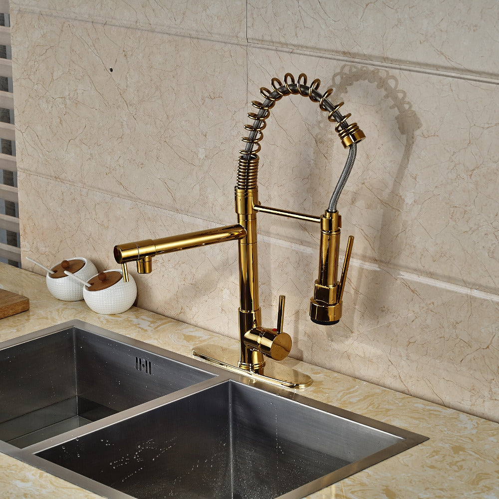 Siena gold finish deck mount kitchen sink faucet with pull out sprayer ecasamart