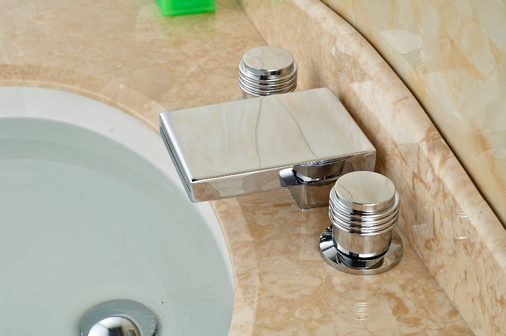 Milan 3 Hole 2 Handle Deck Mount Chrome Bathroom Sink Faucet with Hot and Cold Water Mixer - eCasaMart