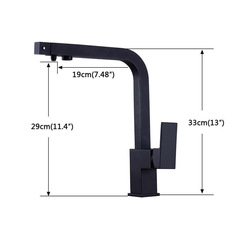 Pisa Deck Mount Square Kitchen Faucet with Hot & Cold Water - eCasaMart