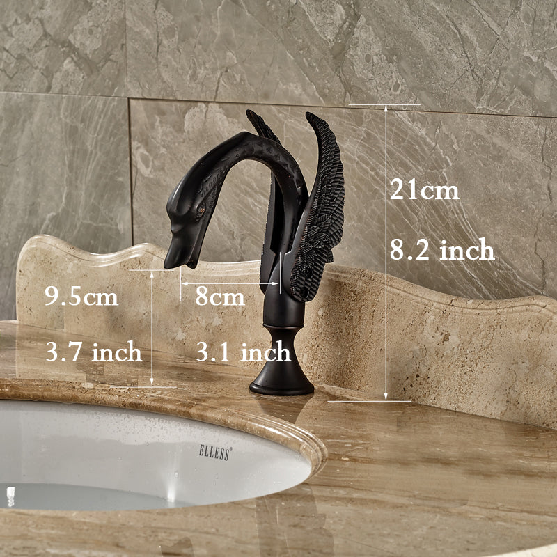Sycamore Oil Rubbed Bronze Deck Mount Swan Bathroom Sink Faucet with Hot / Cold Mixer - eCasaMart