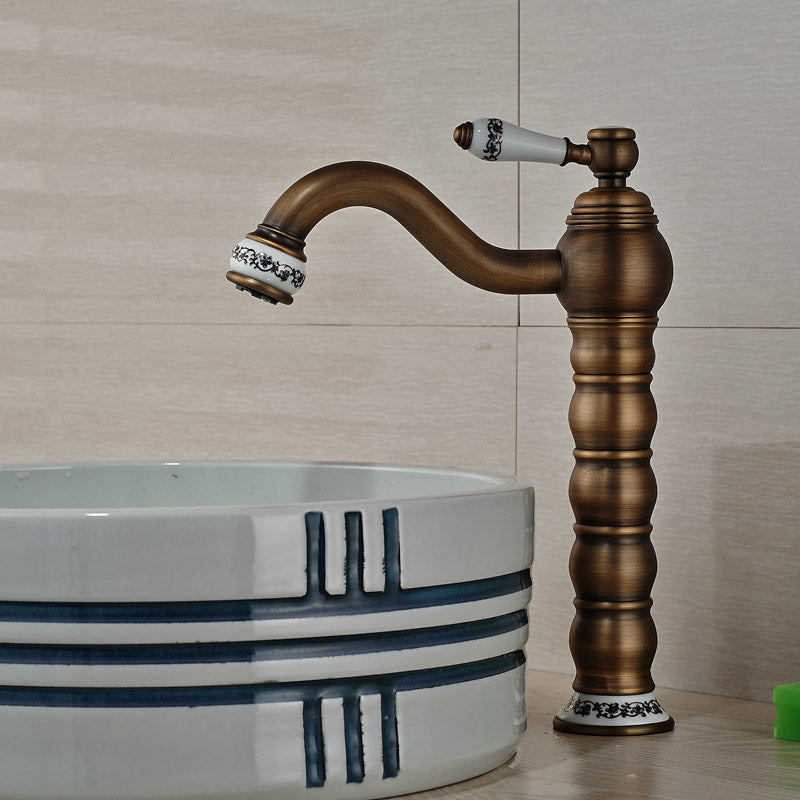 Tannery Deck Mount Single Handle Antique Brass Single Hole Bathroom Faucet - eCasaMart