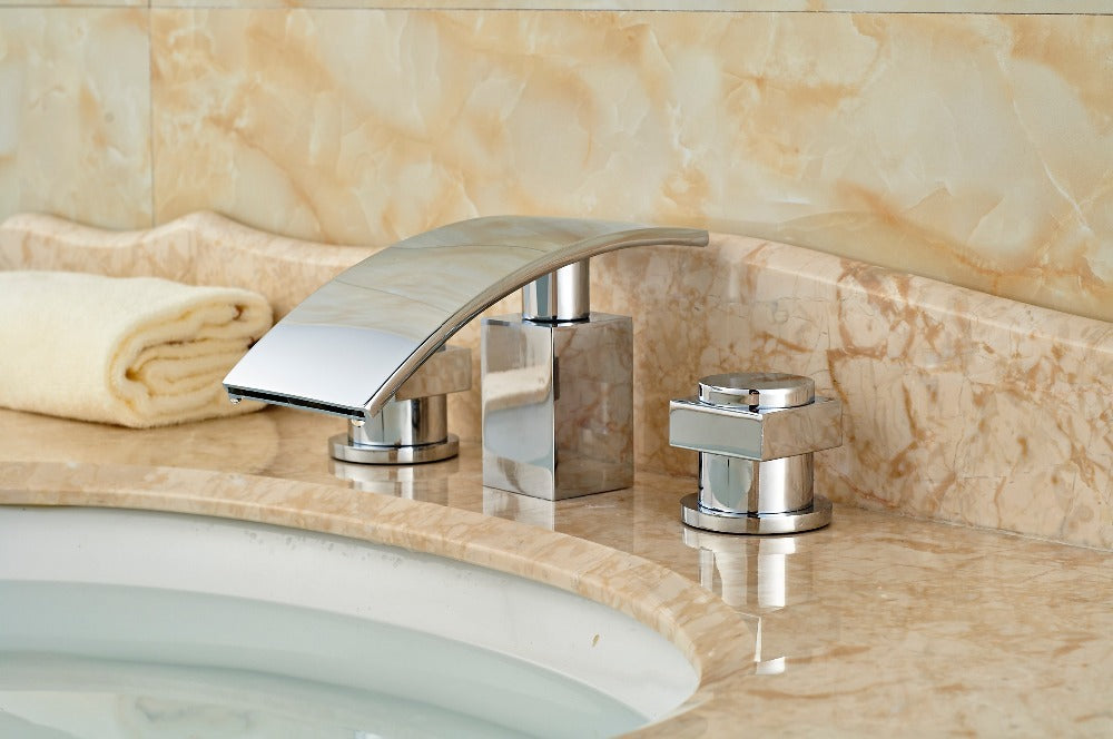 Taughannock Deck Mount Dual Handle Chrome Waterfall Bathroom Faucet with Hot and Cold Mixer - eCasaMart