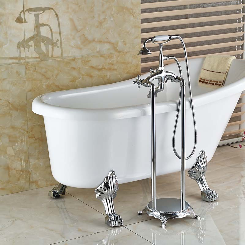 Teramo Freestanding Chrome Clawfoot Tub Faucet with Handshower - eCasaMart
