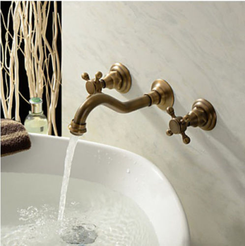 Tettegouche Dual Handle Antique Brass Wall Mount 3 Hole Bathroom Faucet - eCasaMart