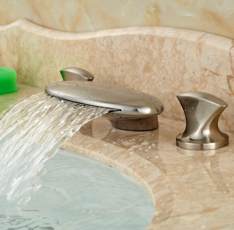 Toccoa Deck Mount Dual Handle 3 Hole Waterfall Bathroom Faucet with Hot / Cold Mixer - eCasaMart