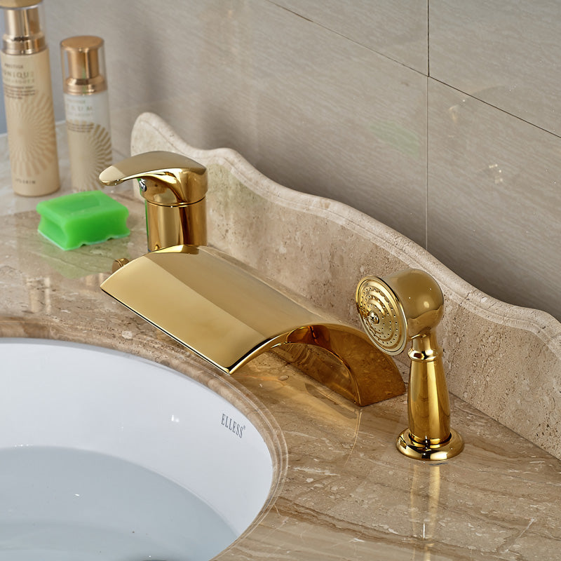 Trento Single Handle Gold Deck Mount Waterfall Tub Filler Faucet with Handshower - eCasaMart