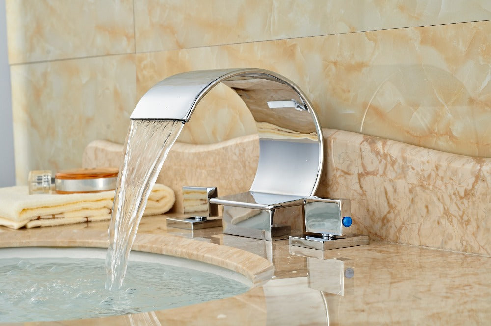 Trenton Deck Mount Dual Handle Three Hole Widespread Chrome Bathroom Faucet with Hot and Cold Mixer - eCasaMart