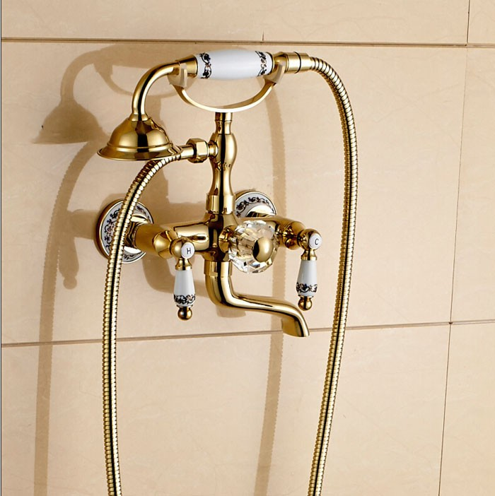 Ulao Gold Wall Mount Telephone Tub Faucet with Hot & Cold Mixer - eCasaMart