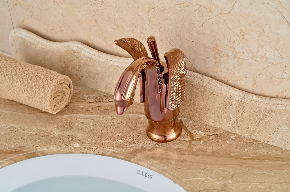 Umauma Dual Handle Waterfall Gold Bathroom Sink Faucet with Hot / Cold Water Mixer - eCasaMart