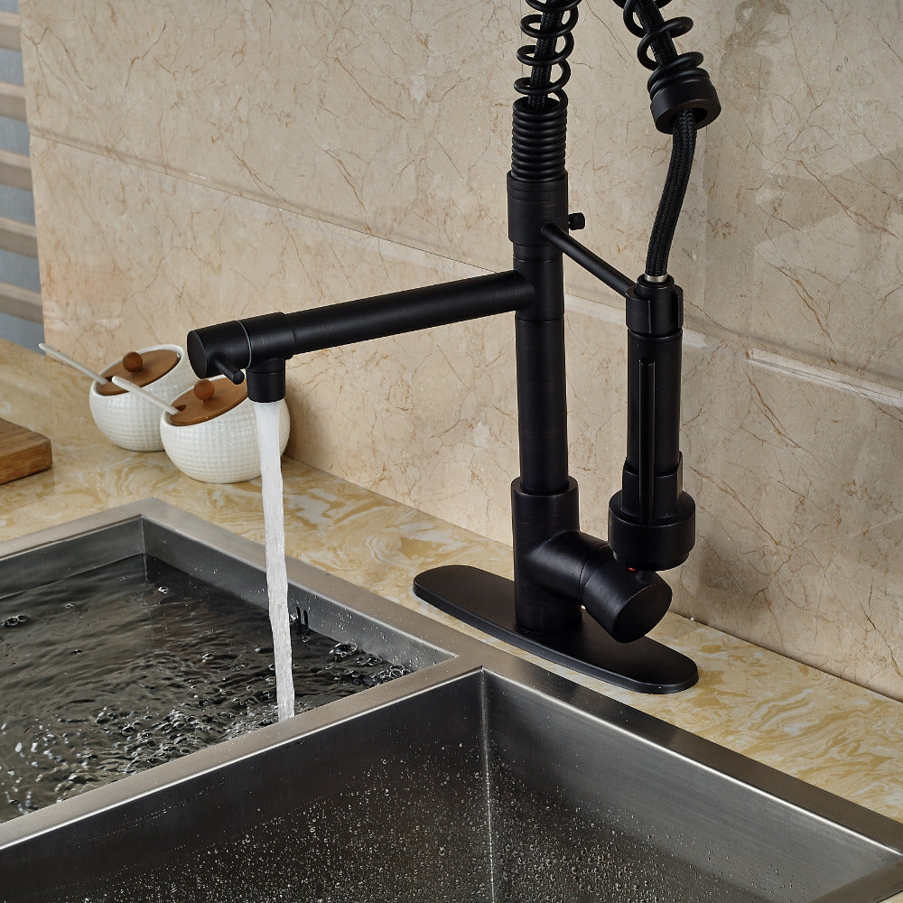 Venice Oil rubbed Bronze Led Pull Out Kitchen Faucet with Dual Spouts and Cover Plate - eCasaMart