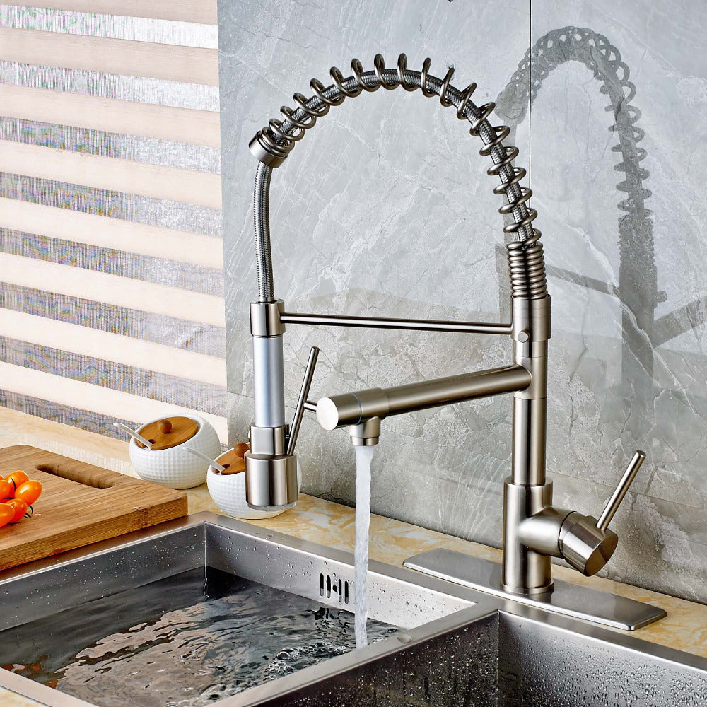 Verona Brushed Nickel LED Pull Down Kitchen Faucet with Dual Spouts - eCasaMart