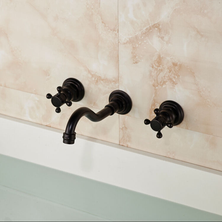 Tahquitz Oil Rubbed Bronze Dual Handle Wall Mount Bathroom Sink Faucet with Hot / Cold Mixer - eCasaMart