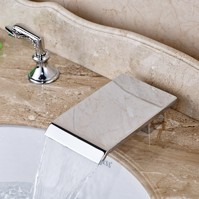 Whiteoak Deck Mount Dual Swan Handle Chrome Waterfall Bathroom Faucet with Hot and Cold Mixer - eCasaMart