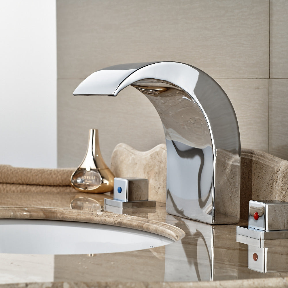 Shellburg Deck Mount Dual Handle 3 Hole Waterfall Faucet with Hot and Cold Water Mixer - eCasaMart