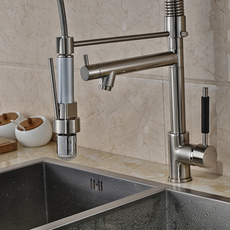 Delphi Deck Mount Brushed Nickel LED Kitchen Faucet with Pull Down Spray & Hot / Cold Mixer - eCasaMart