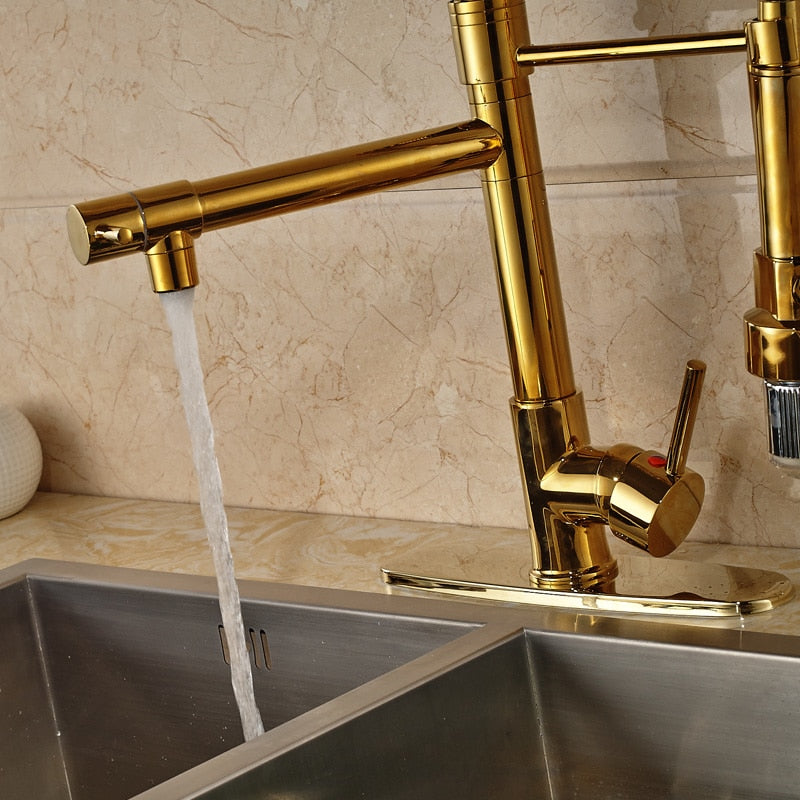 Modena Deck Mount LED Gold Kitchen Faucet with Pull Down Spray & Hot / Cold Mixer - eCasaMart