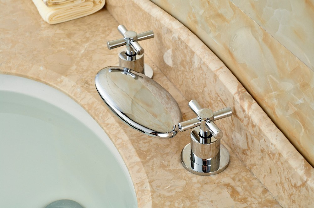 Tamolitch Deck Mount Dual Handle Chrome 3 Hole Waterfall Bathroom Faucet with Hot and Cold Water Mixer - eCasaMart