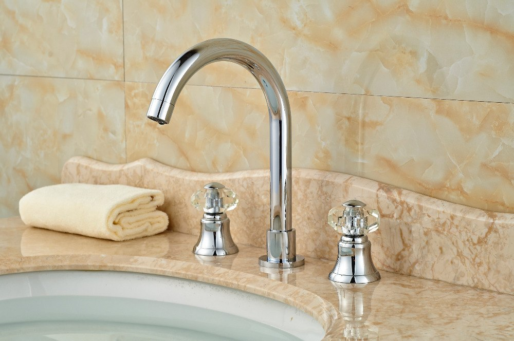Coopey Deck Mount Dual Crystal Knob 3 Hole Modern Chrome Bathroom Faucet with Hot and Cold Water Mixer - eCasaMart