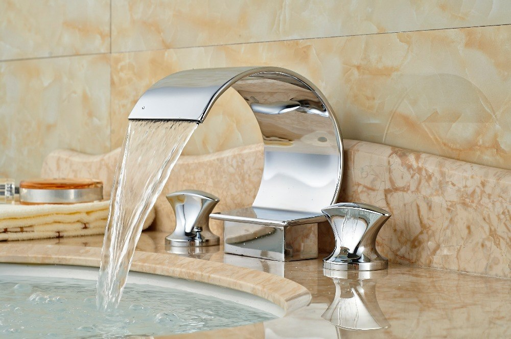 Willamette Deck Mount 3 Hole Chrome Finish Widespread Waterfall Bathroom Faucet with Hot and Cold Water Mixer - eCasaMart