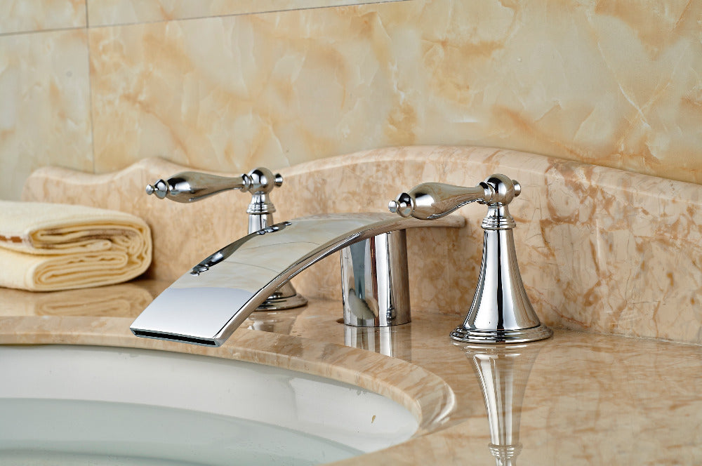 Windy Deck Mount Three Hole Dual Handle Chrome 3 Piece Bathroom Faucet - eCasaMart