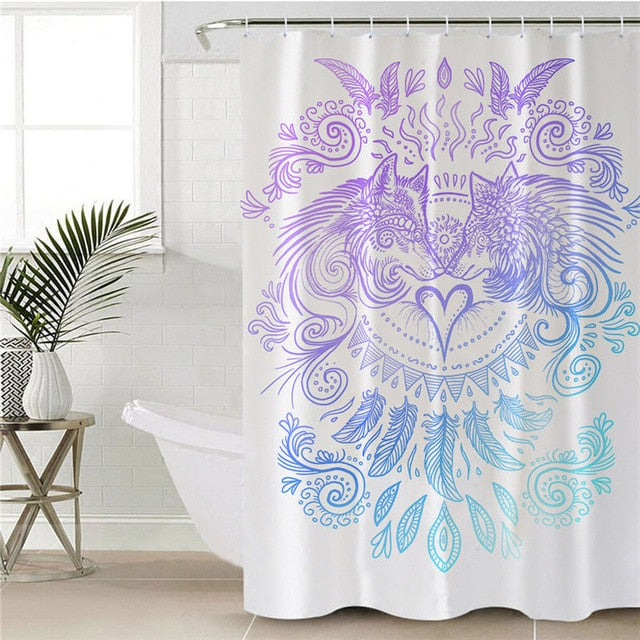 Wolf Tribal Shower Curtain | Wolves Heart by SunimaArt - eCasaMart