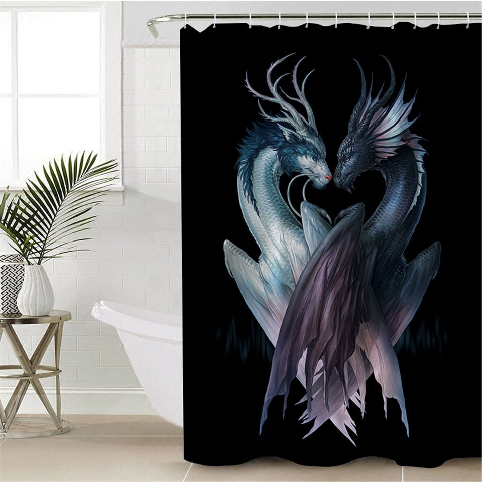 3D Printed Dragon Shower Curtains | Yin and Yang Dragons Black by JoJoesArt - eCasaMart