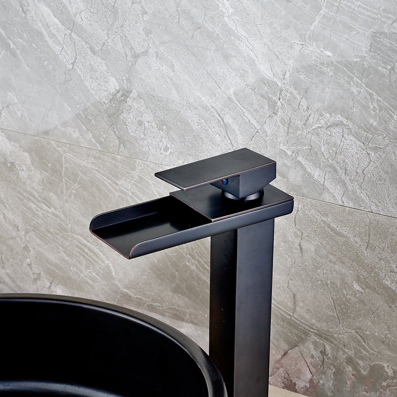 Yosemite Deck Mount Oil Rubbed Bronze Single Handle Water Fall Bathroom Faucet with Hot / Cold Mixer - eCasaMart