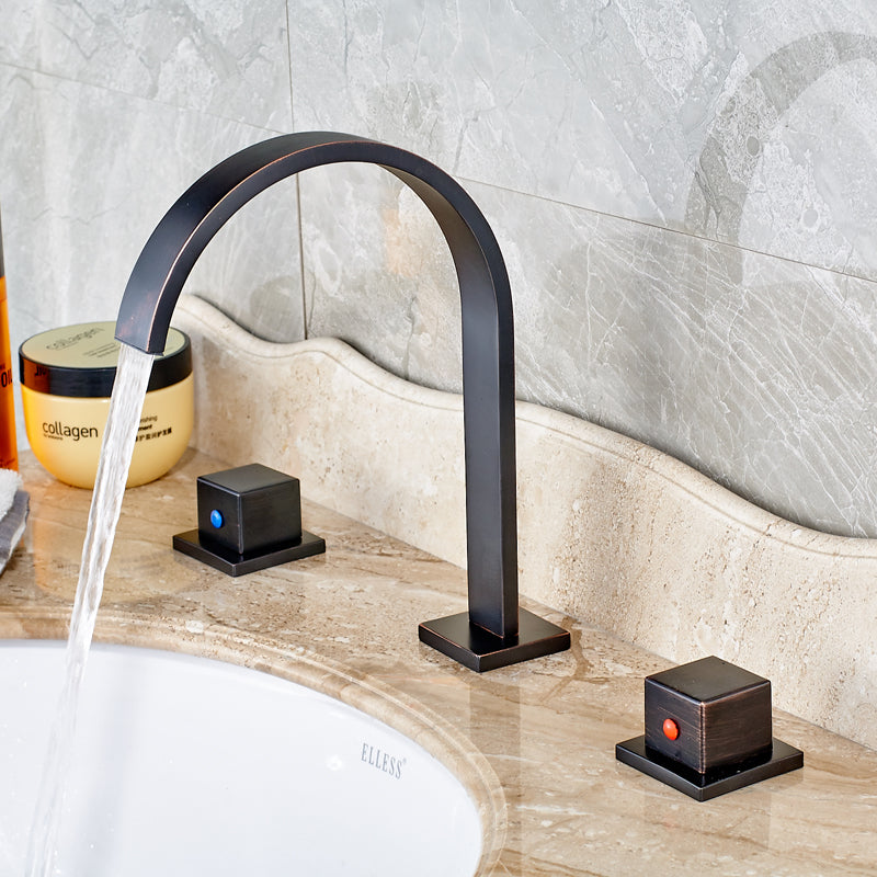 Zapata Deck Mount Oil Rubbed Bronze Dual Handle Long Neck Bathroom Faucet with Hot / Cold Mixer - eCasaMart