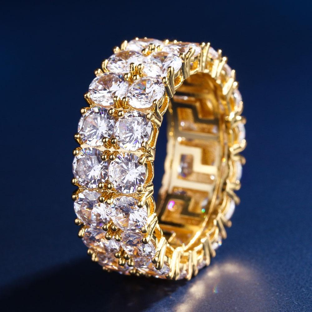 Gold Iced Out Two-Row CZ Ring