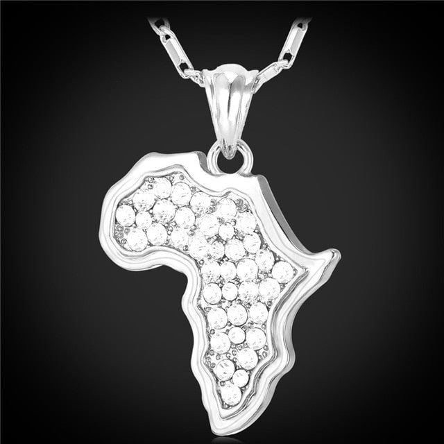 Iced Out Africa Map Pendant with Gold / Silver Necklace - eCasaMart