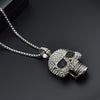 Iced Out CZ Pave Skull Pendant Necklace - eCasaMart