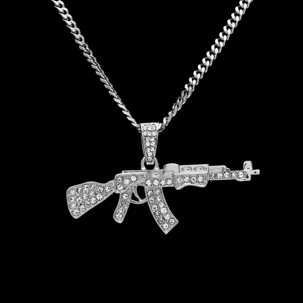 Iced Out Miami Cuban Gun Pendant Necklace - eCasaMart
