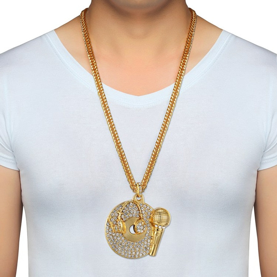 Iced Out Headset, Microphone and CD Pendant Necklace - eCasaMart
