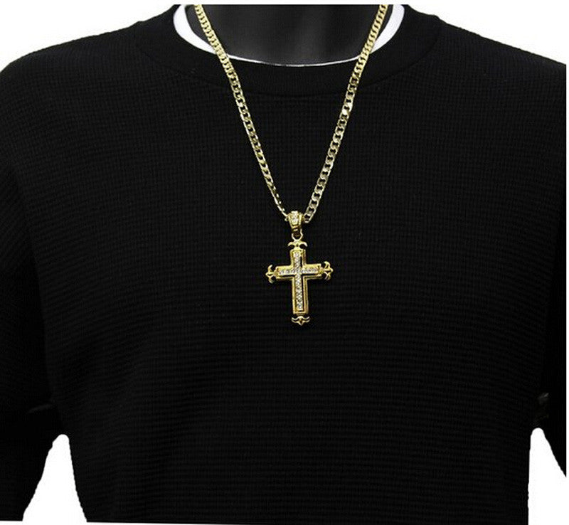 Cuban Necklace with Iced Out Cross Pendant - eCasaMart