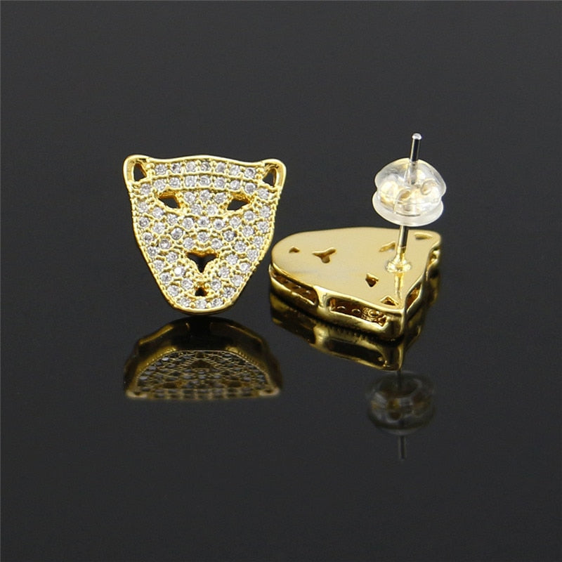 Full Iced Out Leopard Head Stud Earring - eCasaMart